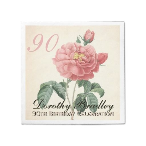 Birthday Gifts Ideas Vintage Rose 90th Party Paper