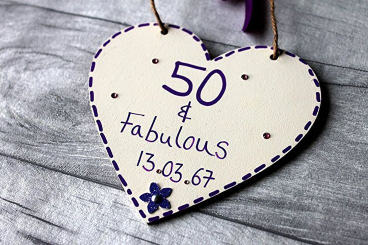 MadeAt94 50 And Fabulous Personalised Birthday Gift Heart 12cm 50th 60th 65th 70...