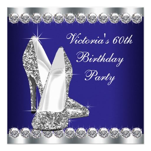 Birthday Gifts Ideas Womans Royal Blue 60th Party Card