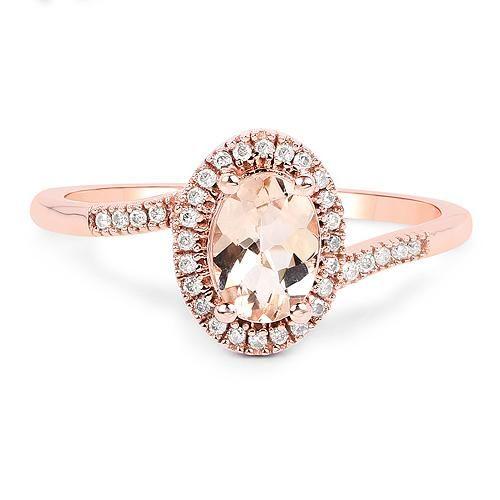 14K Rose Gold Natural .85CT Oval Cut Peach Morganite & White Diamonds Halo Ring