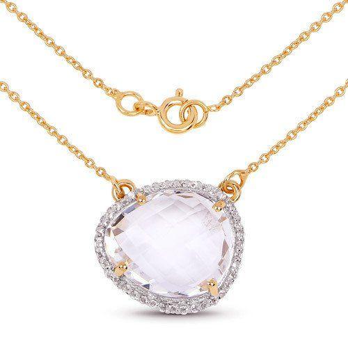 14K Yellow Gold 9.68 Carat Genuine Rare Pink Crystal Quartz and White Topaz Neck...