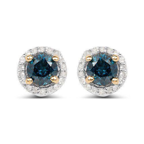 14K Yellow Gold Genuine Round Cut Blue Diamond & White Diamond Halo Stud Earring...