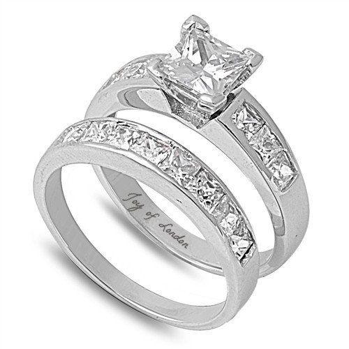 1CT Princess Cut Russian Lab Diamond Bridal Set Wedding Band Ring