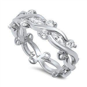 2.87TCW Marquise & Round cut Russian Lab Diamond Wedding Band Eternity Ring