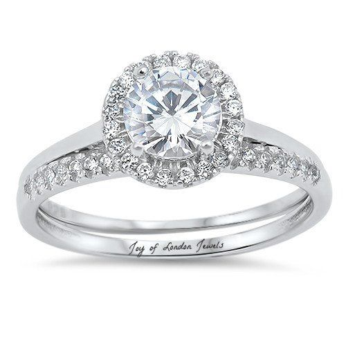2CT Round Cut Russian Lab Diamond Halo Bridal Set Wedding Band Ring
