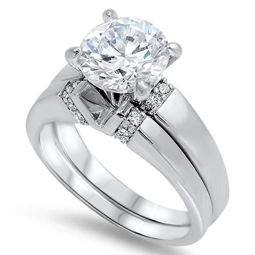 4.4CT Round Cut Russian Lab Diamond Solitaire Bridal Set Wedding Band Ring