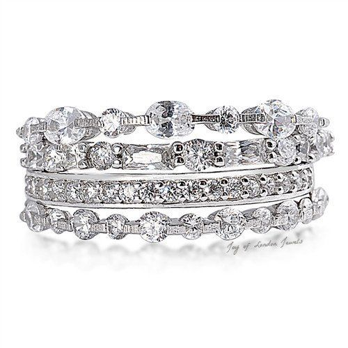 Birthday Gifts 7TCW Stacked Russian Lab Diamond Engagement Wedding