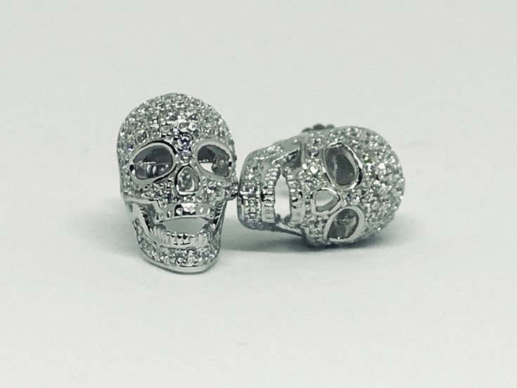 .9CT French Pave Russian Lab Diamond Skull Stud Earrings