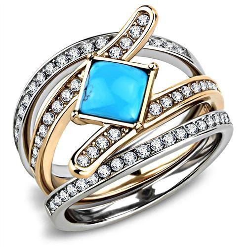 A 14K Rose Gold Platinum 1.4CT Princess Cut Turquoise Stackable Ring Set