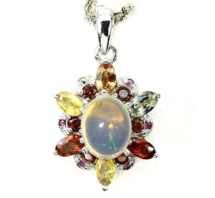 A 14K White Gold 1.5CT Cabochon Ethiopian Opal Sapphire Ruby Garnet Citrine Acce...