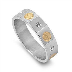 A Classic 14K Yellow Gold and Stainless Russian Lab Diamond Unisex Wedding Band ...