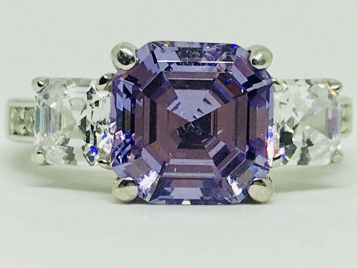 A Natural 4CT Asscher Cut Lilac Amethyst Ring