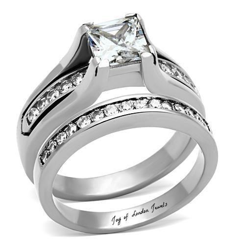 A Perfect 1.7CT Princess Cut Russian Lab Diamond Channel Set Wedding Bridal Set ...