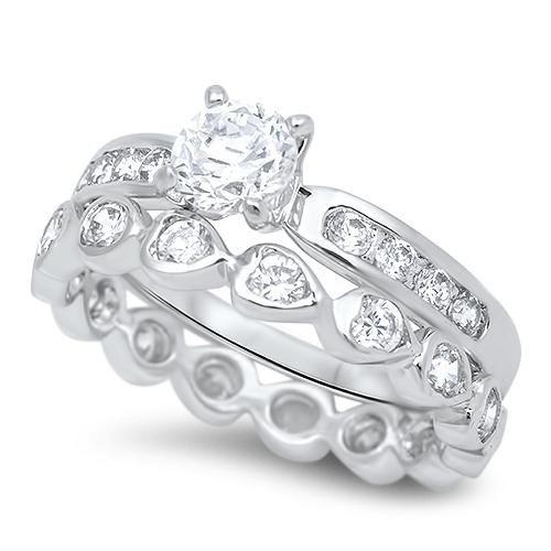 A Perfect 1CT Round Cut Russian Lab Diamond Bridal Set
