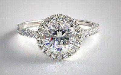 A Perfect 2.5CT Halo Russian Lab Diamond Ring