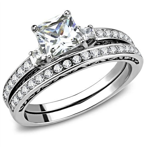 A Perfect 2CT Princess Cut Russian Lab Diamond Bridal Set Wedding Band Ring