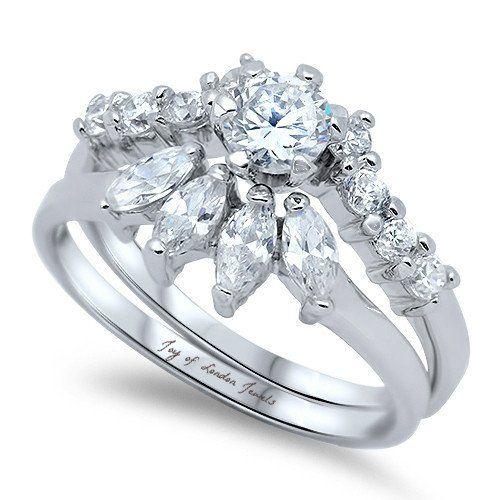 A Perfect 2CT Round Cut & Marquise Russian Lab Diamond Bridal Set