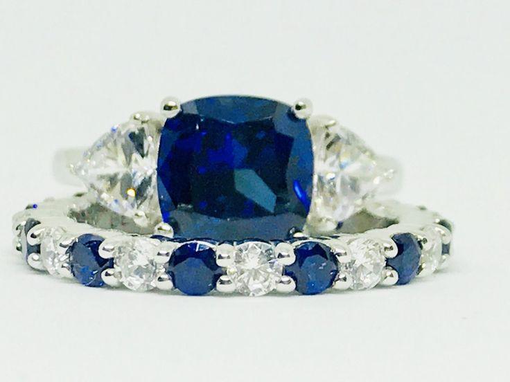 A Perfect 3CT Cushion Cut Blue Sapphire and Wedding Band