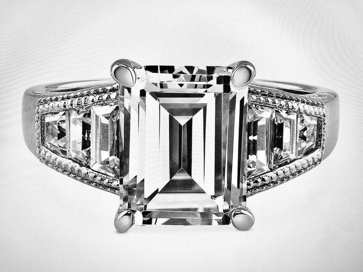 A Perfect 4CT Emerald Cut Russian Lab Diamond Engagement Wedding Anniversary Rin...