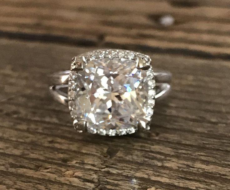 A Perfect 5.6CT Cushion Cut Russian Lab Diamond Halo Split Shank Engagement Ring