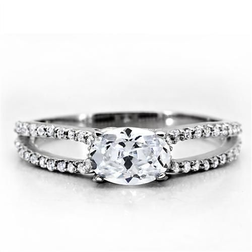 A Perfect East West .85CT Oval Cut Solitaire Russian Lab Diamond Split Shank Eng...