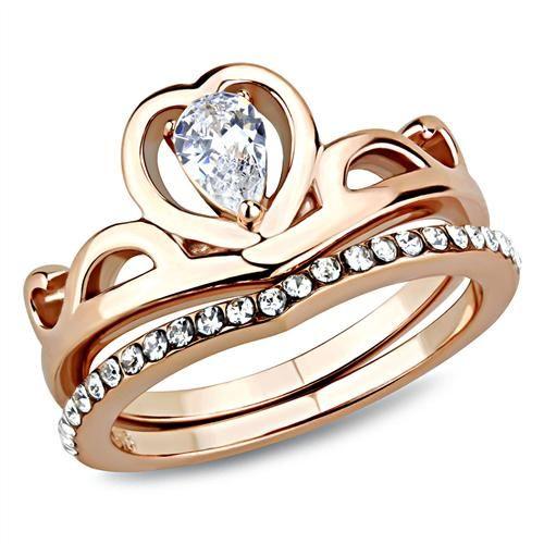 A Perfect Rose Gold .75CT Pear Cut Russian Lab Diamond Bridal Set Ring