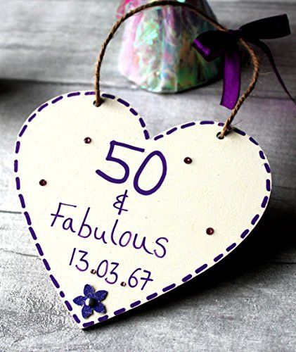 Birthday Gifts Customized 50th 50 And Fabulous Gift Heart