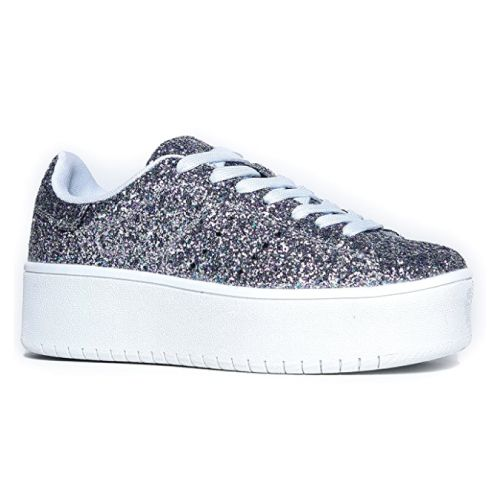 Glitter Silver Platform Sneaker. Teens fashion. Holiday gift ideas for girls. Ch...
