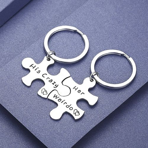 His and Her Couple Keychain Set. Christmas Gifts for Boyfriend Teens