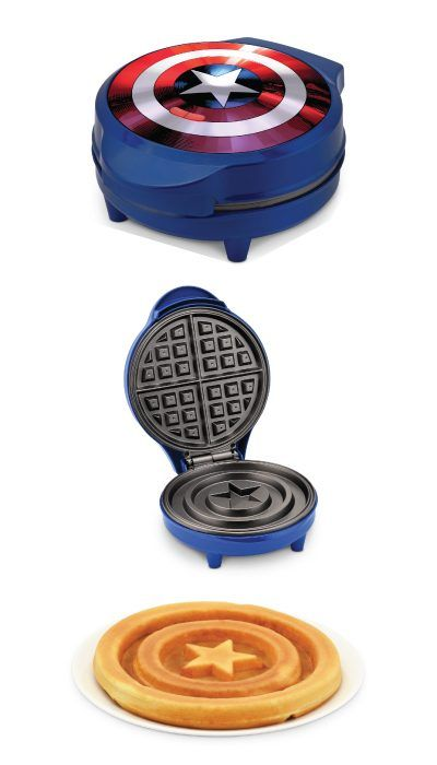 Holiday gift for the superhero fans. Captain America Shield Waffle Maker. Start ...