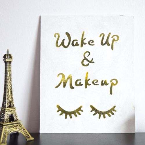 Birthday Gifts For Teenagers Wake Up And Makeup Wall Art Closed Eyes Lashes Design Chic Bedroom Decor T