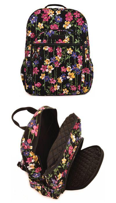 Wildflower Garden Vera Bradley Campus Backpack. Floral design school back. Schoo...