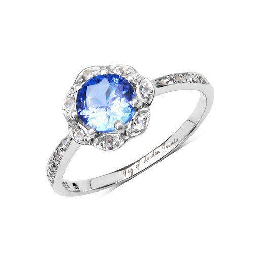 Genuine 1CT Tanzanite & White Topaz Platinum Engagement Ring