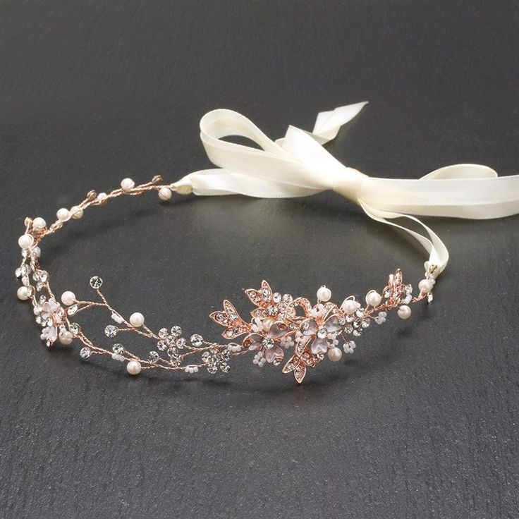 Handmade Couture Bridal Hair Headband with Hand Painted 14K Rose Gold Vines & Fr...