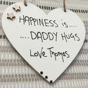 Happiness is Daddy HUG Personalised Cream Heart – 3 Diamontes