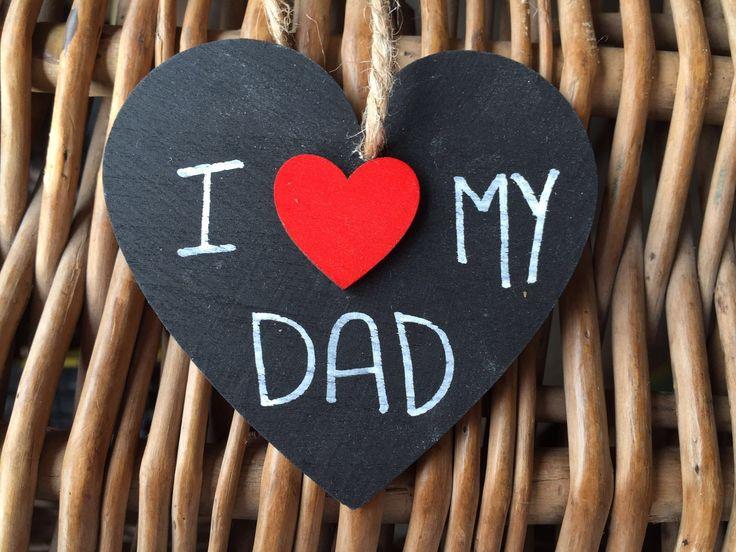 I (heart) my Dad black Hanging Heart