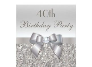 Birthday Gifts Ideas 40th Party Silver Sequins Bow Diamond Card
