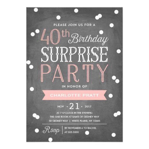 40th Confetti Surprise Party Invitation | Birthday