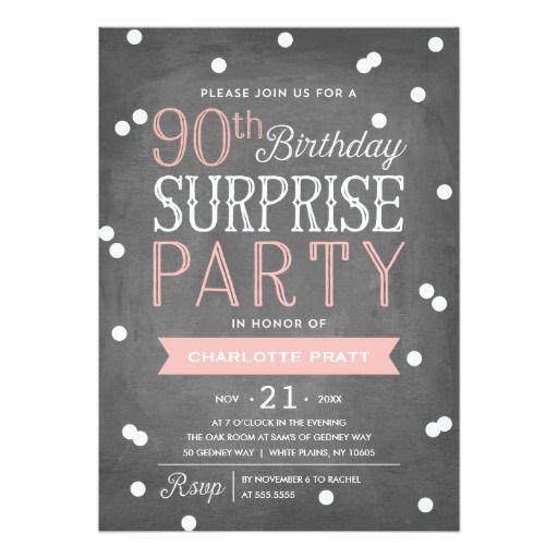 90th Confetti Surprise Party Invitation   Birthday