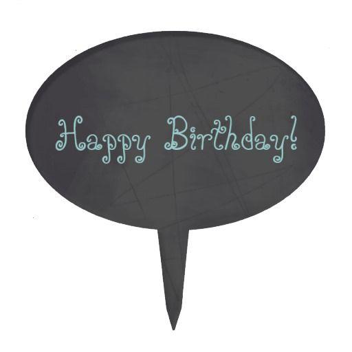 Blue Whimsical Happy Birthday Chalkboard Cake Topper