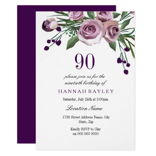 Birthday Gifts Ideas Elegant Plum Purple Rose 90th