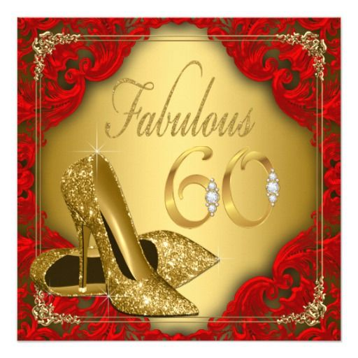 Birthday Gifts Ideas Fancy Red Gold High Heel Fabulous 60th