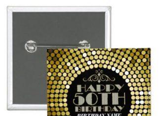 Birthday Gifts Ideas Glamorous Glitter Happy 50th 2 Pinback Button