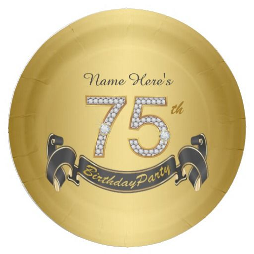 Birthday Gifts Ideas Gold Diamond 75th Party Paper Plate