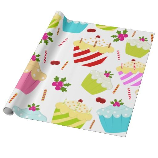 Birthday Gifts Ideas Happy Cupcake Pattern Wrapping Paper