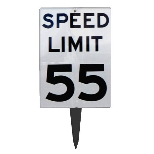 Happy Birthday Speed Limit 55 Sign - Cake Topper