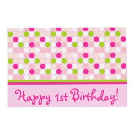 Polkadot Birthday Laminated Placemat