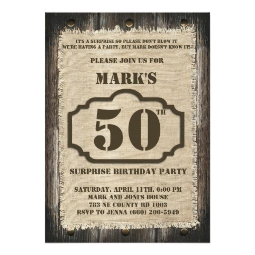 Birthday Gifts Ideas Rustic Surprise Party Invitation