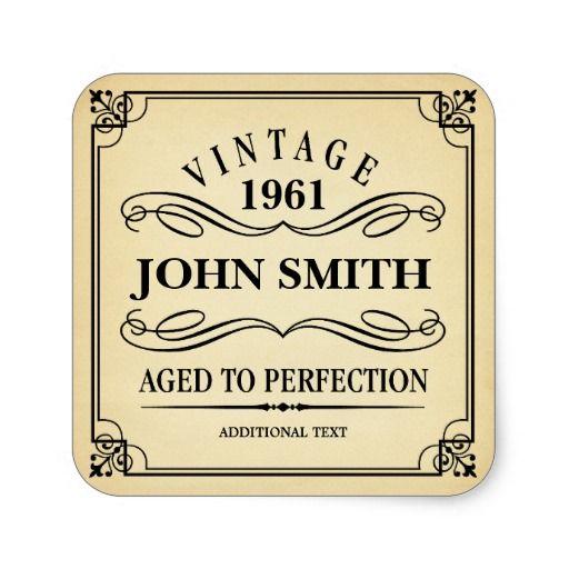 Vintage Birthday Party Favor Square Sticker