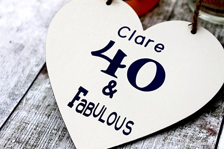 MadeAt94 40 And Fabulous Personalised Friend Birthday Gift Heart 12cm 50th 60th